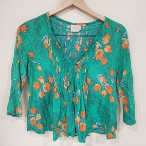 Anthro Flowy Floral Blouse Green Orange Size 0